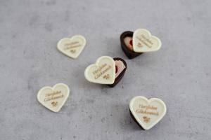 Aufleger für Herzschalen -Herzlichen Glückwunsch- weiß