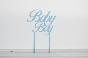 Cake Topper Baby Boy, 9 cm hoch, blau