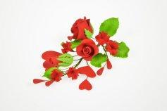 Zucker-Rosen rot mit Herzen 15 cm