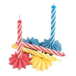 Geburtstagskerzen mit Zuckerhaltern, bunt, 12 Stk., H 63 mm
