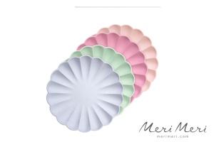 Meri Meri Pappteller Muschel, Gr.S, pastell, 4 Farben,