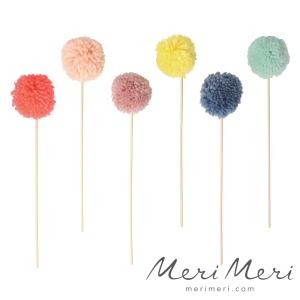 Meri Meri Cake Topper Pompons, bunt, Höhe ca.  26 cm