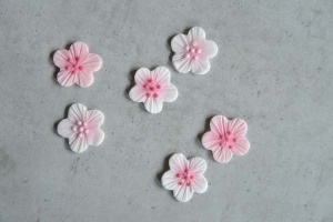 Blumen-Aufleger pink-rosa, 12 Stück, ca. 2,5 cm
