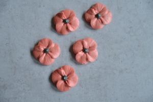 Mohnblumen rot aus Zucker, Ø 3,5 cm, 16 Stück