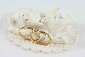 Taubenpaar aus Zucker mit goldfarbenen Ringen