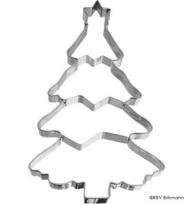 Ausstecher Weihnachtsbaum mit Prägung, Edelstahl, 18,5 cm