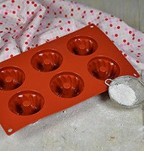Guglhupf Förmchen für 6 Stck à 7cm, aus Silikon