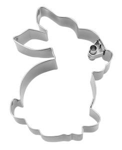Ausstecher mit Prägung Hase sitzend, Edelstahl, 7 cm