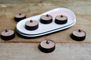 Dessertschalen Schokolade Rund klein Zartbitter, 36 Stück