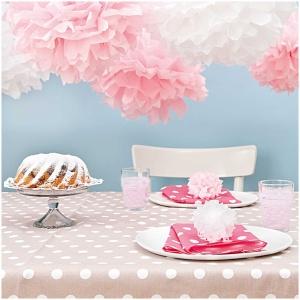Pompons aus Seidenpapier, rosa, 3 Stk., 2x Ø 40 cm, 1x Ø30cm