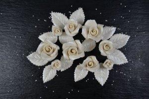 Rosenset natur/silber aus Marzipan, 9 Rosen+14 Blätter