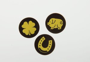 Schoko-Aufleger Glücksbringer Zartbitter, ca. 3 cm, 24 Stück