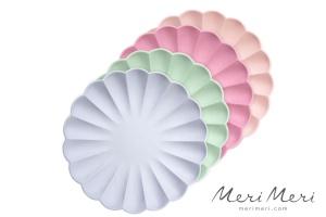 Meri Meri Pappteller Muschel, Gr.L, pastell, 4 Farben,