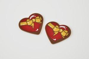 Herz mit Schleife, Schoko-Aufleger, 24 Stück
