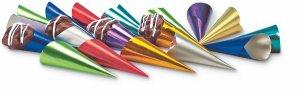 Spitztüten farbig sortiert 100 Stück, aus Aluminiumfolie