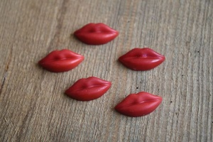 Rote Lippen - Aufleger, 3 x 1,5 cm, 59 Stück