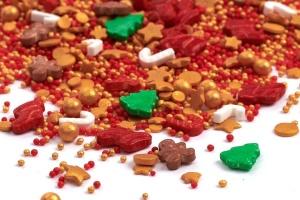 Streusel Mix Santa`s Favourite, rot/gold/grün, 90 g