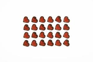 Herzen -Romantik- Zartbitter Schokoladen-Aufleger, 24 Stück