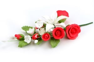 Zucker-Blumenbouquet Rose rot, 18 cm