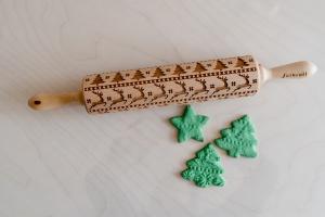 Teigroller mit Muster, Weihnachten, 43x5 cm