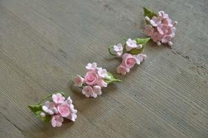 Zucker-Blumen pink, 4 Sträußchen