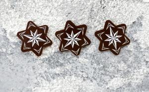 Schoko-Aufleger Weihnachtsstern, Zartbitter 3,3cm, 24 Stück