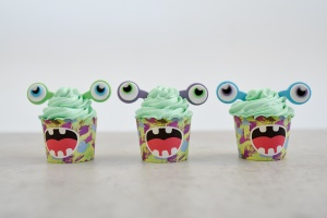 Cupcake Kit Alien-Monster, Muffinform + Zuckerdeko
