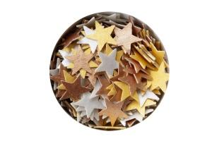 Streudekor Sterne, Esspapier, gold/silber/bronze, 12 mm, 3g