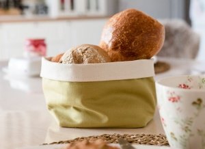 Brotkörbchen aus Baumwolle grün/Olive 12,5 x 12,5 cm