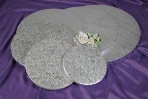 Cake Board / Tortenplatte, Ø 40cm, 1,2 cm silberfarben