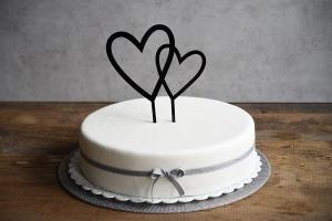Cake Topper Doppelherz, ca. 17 cm hoch, schwarz