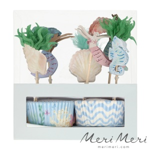 Meri Meri Cupcake Kit Meerjungfrau, Muffinform + Deko