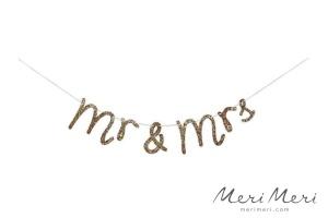 Meri Meri Girlande Hochzeit Mr & Mrs, gold, 150x11cm
