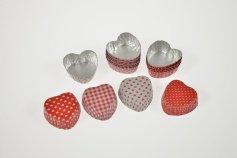 Alu-Herzkapseln für Pralinen, 40 Stück, rot/weiß gemischt