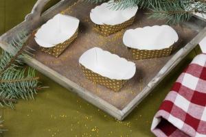 Mini-Papierbackform, gold mit weißen Sternen, 10 Stück
