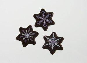 Schoko-Sterne Schneeflocke, Zartbitter, ca. 3 cm,  54 Stück