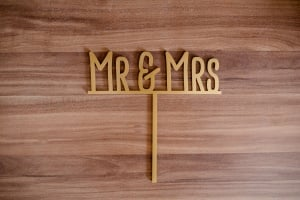 Cake Topper Mr & Mrs, Gold, Acryl