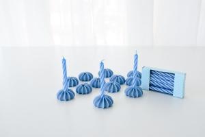 Geburtstagskerzen mit Zuckerhaltern, blau, 12 Stk., H 63 mm