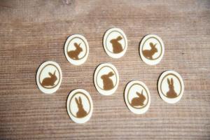 Hasen im Ei, Schoko-Aufleger weiß, 3,3 x 2,4cm, 24 Stück