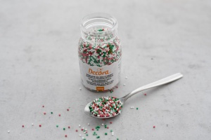 Zuckerperlen mini, 1,5 mm, rot/weiß/grün, 100 g Dose