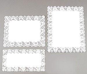Tortenspitzen rechteckig 50 x 40 cm weiß, 10 Stück