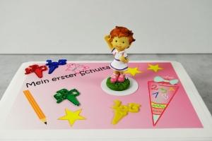 Schulanfang-Set Mädchen winkend für Thementorten