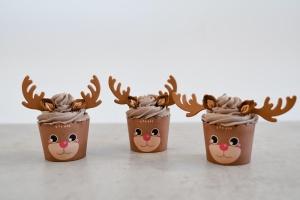 Cupcake Kit Rentier, Muffinform + Zuckerdeko für 6 Cupcakes