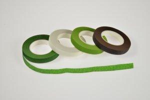 Floristenband 12 mm, grün, hellgrün, weiß, braun, je 27 m