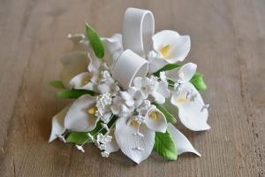Zucker-Callas mit Bänder, weiß, 18 cm