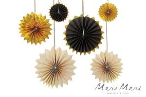 Meri Meri Papierfächer Hängedekoration, schwarz/weiß/gold