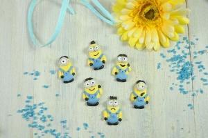 Minions Figuren aus Zucker flach, 4 - 4,5 cm, 6 Stück