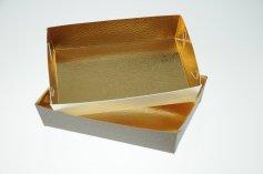Gebäckschale braun+weiß 16x11x3,5 cm, 10 Stück, 5 je Farbe