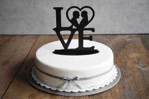 Cake Topper Love, zur Hochzeit, 18cm hoch, schwarz