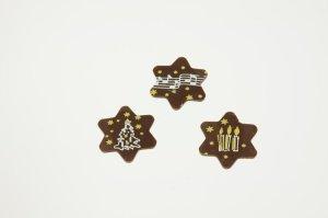 Schoko-Aufleger Weihnachtssterne Ø 3 cm, 24 Stück